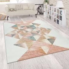 teppich wohnzimmer pastell kurzflor rauten muster