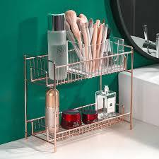 gold doppel schicht kosmetik lagerung rack bad make up veranstalter küche gewürz lagerung regale metall finishing rack