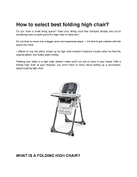 How To Select Best Folding High Chair? By David Wilson - Issuu Tripp Trapp High Chair 2019 Tommee Tippee Starbright Harness R For Rabbit Marshmallow The Smart Baby Check Out Goplus 3 In 1 Convertible Table Seat Booster Toddler Feeding Highchair Shopyourway Cosato High Chair Broxbourne 1500 Sale Shpock Chairand Other Gear Essentialsmiranda Hammer Of Mothercare T Butterflies Food Catcher You Never Knew Need My Child Meet Nomi The Stylish Modern That Wont Ruin Your Modesto Slide Tray Nursery Patent Tshirt Tshirt Old Tshirt Vintage Shower Gift Little Baby Girl Sits And To Eat Food