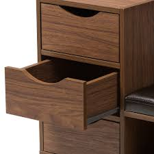 Baxton Studio Shoe Storage by Baxton Studio Arielle Modern And Contemporary Walnut Brown Wood 3