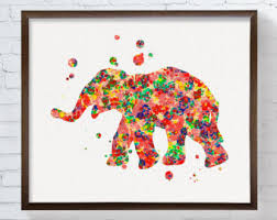 Elephant Art Print Poster Wall Watercolor