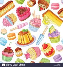 Assorted Colorful Desserts Pastries Sweets Candies Cupcakes Seamless Vector Pattern Isolated On White Background