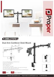 Vesa Desk Mount Arm by Proper Dual Arm Cantilever Desk Monitor Mount For 13