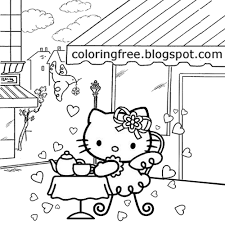 Busy City Coffee Shop Restaurant Food Table Teenage Girls Sweet Hello Kitty Coloring Pages For Kids