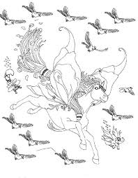 Bella The Magical Horse Flying With Birds Coloring Pages