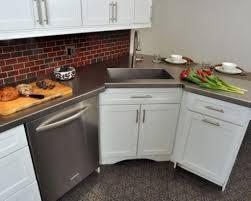 Corner Kitchen Sink Cabinet Ideas by Kitchen Attractive White Self Rimming Corner Kitchen Sink With