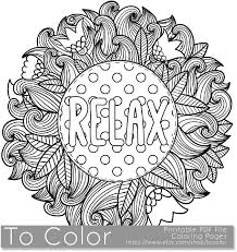 Relax Coloring Page For Grown Ups