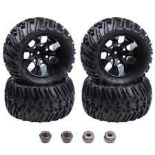 100 Rc Truck Wheels 4 Pieces RC Tires Complete Sponge Inserted Wheel Hex