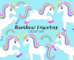 Rainbow Unicorn Clipart Cute Unicorns Clip Art Illustrations