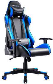 GTPLAYER Gaming Chair Racing Chair Office Chairs Leatherette Executive  Chair Height Adjustable Desk Chair (Blue)