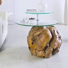 wohnzimmer beistelltisch unikat mit 2 drehbaren glasplatte und kugel aus teakholz b h ca ø 70 67cm