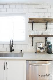 White Subway Tile And Open Rustic Wooden Shelves By Somuchbetterwithage