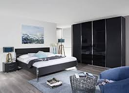 schlafzimmer komplett black in schwarz metallic bett schrank
