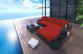 rattan sofa wave l form sitzgarnitur rattancouch gartenmöbel lounge set led