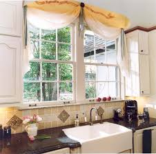 Kitchen Decoration Awesome White And Yellow Curtains Scarf Over Valance With Double Glass Sliding