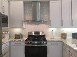 white 1 x 1 pearl shell tile high end kitchen backsplash