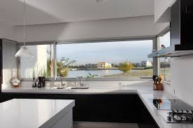 Natural Bright Modern Minimalist Kitchen Decorating With Half Wall Glass Black And White Cabinet