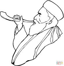 Click The Old Man With Beard Is Blowing A Horn Coloring Pages To View Printable