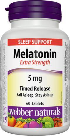 Webber Naturals Extra Strength Timed Release Melatonin - 5mg, 60 Tablets
