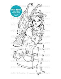Fairy Digital Stamp With Butterfly Wings Digistamp Coloring Page By SLS Lines