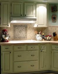 Vintage Green Kitchen Cabinet With Mosaic Tiles Kitchen Backsplash