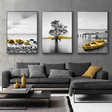 angeln boot seascape leinwand malerei gelb retro kunst meer landschaft wandbild poster wohnzimmer dekoration rahmenlose