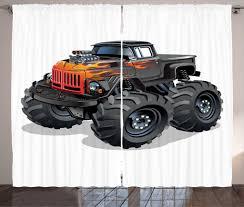 100 Monster Truck Bedroom Curtains 2 Panels Set Cartoon Enormous Wheels