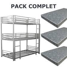 lit superpose 3 couchages avec matelas achat vente lit