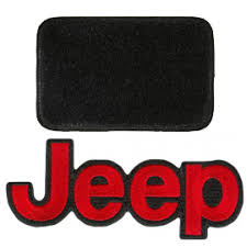 Floor Mats Front Pair Black With Red Jeep Logo