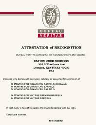 us bureau veritas open air seasoning certification canton cooperage