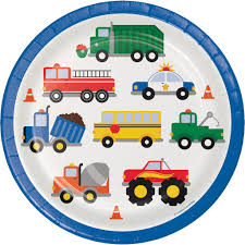 100 Trucks Paper Traffic Jam Dinner Plates City Cars Plates Cars And