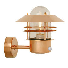nordlux blokhus copper outdoor wall light with pir sensor wall