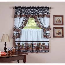 Whtie Kitchen Curtains Walmart With Wonderful Pattern For Decoration Ideas