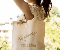 Bridesmaid Tote Bag Bridal Party Wedding Gift Maid Of