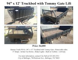 "City Of Ballinger Is Selling A 94"" X 12' Truckbed With Tommy Gate ... Loading Zone Cargo Gate Cargoglide Truck Bed Slide 2200 Lb Capacity 100 Lift Commercial Trucks Vans Cars In South Amboy Vitale Motors Dna Motoring For 891995 Pickup End Rear Tail Cap Chevy Alumbody Ford Alinum Beds Stromberg Carlson Products Vgt704000 Louvered Gatevgt70 Amp Research Official Home Of Powerstep Bedstep Bedstep2 1999 F450 Flat Wtuckunder Cold Ac Lic Nb Wdsurfing Rack Trail Tested The Xtreme Atv Illustrated"