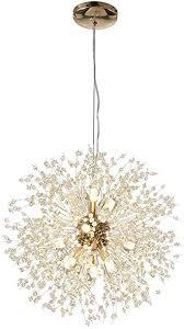 modern creative led pendelleuchte gold löwenzahn hängeleuchten höhenverstellbar wohnzimmerle kristall hängele eisen 12 g9 fassung warmweiß für