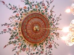 Small Two Piece Ceiling Medallions by Beautiful Floral Mural Around Custom Painted Ceiling Medallion