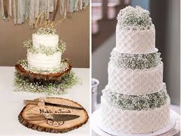 A Traditional White Frosted Wedding Cake Can Look Extravagantly Done Just By Adding Some Babys Breath To Each Tier