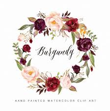 Watercolor Flower Wreath Clipart Burgundy Hand By GraphicSafari