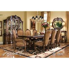 AICO 8pc Windsor Court Rectangular Dining Table Set With China
