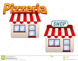 Cartoon Shop And Pizzeria Icons Royalty Free Stock Images