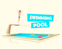 Swimming Pool With A Diving Board Cartoon Vector Illustration Stock