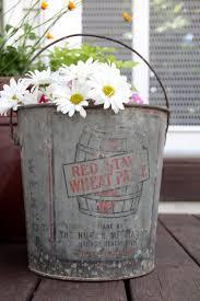 Vintage Galvanized Metal Pail Bucket With Handle Rustic Industrial Advertisement Garden Decor