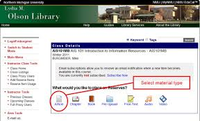 Nmu Laptop Help Desk by Adding Course Reserves To Educat Olson Library