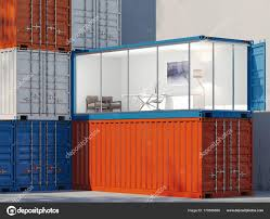 100 Shipping Containers Converted Freight Containers One Container Is Converted Into An Office 3d
