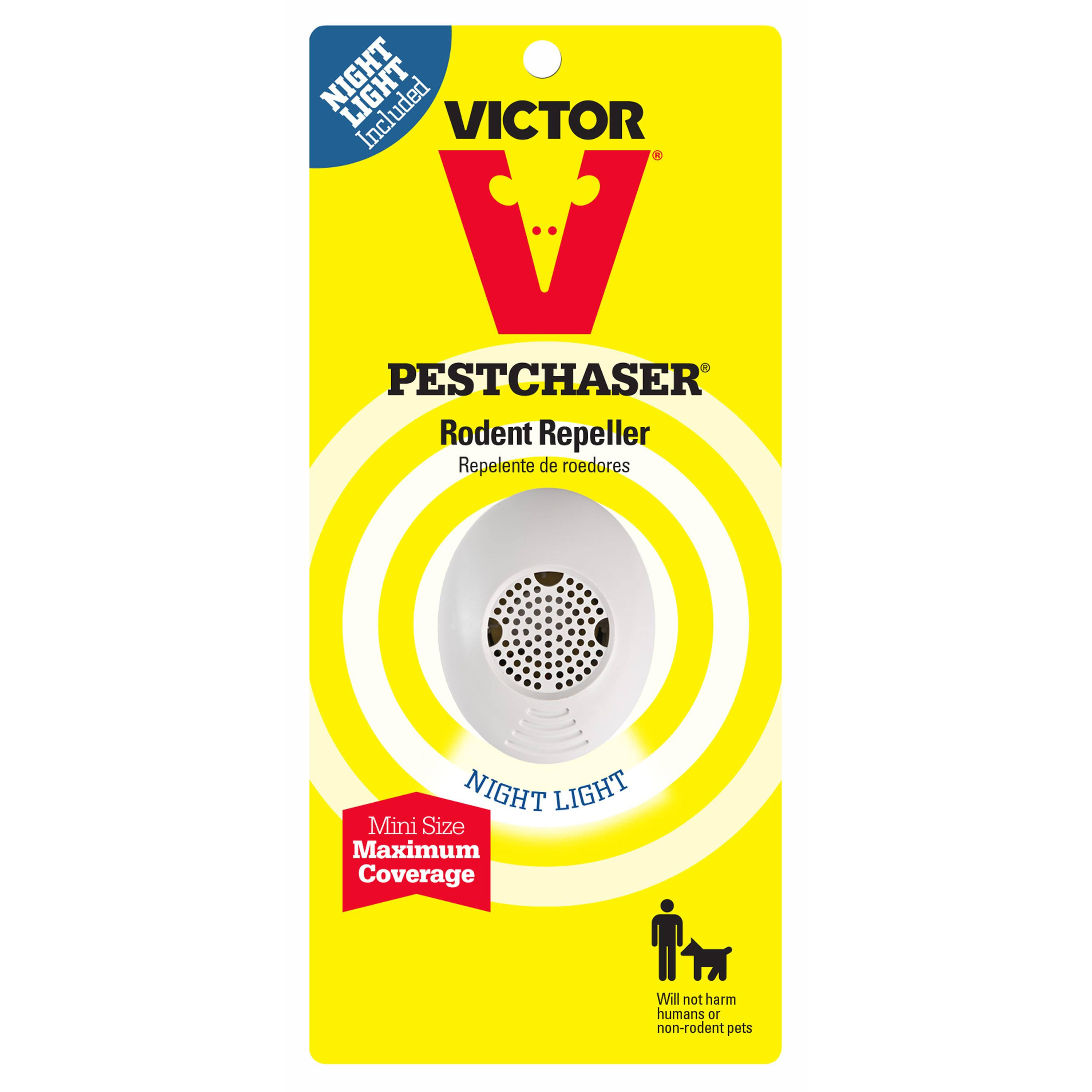 Victor Mini M751SN Ultrasonic Pest Chaser Rodent Repeller - with Nightlight