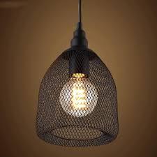 Vintage Black Industrial Rustic Metal Mesh LED Pendant Light