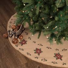 Jute Burlap Poinsettia Tree Skirt 55 Primitive Country Farmhouse Holiday Christmas Home Decor Bedding