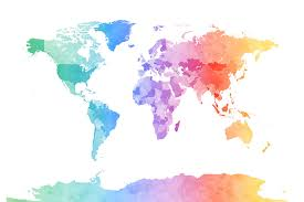 Watercolour World Map Soft Colors