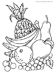 Fruit Color Page Fruits Coloring Pages Plate Sheetprintable